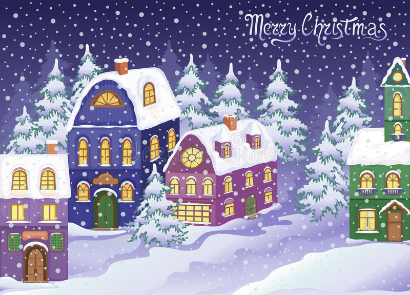 Zim bożych narodzeń krajobraz z śnieżnymi domami ilustracja wektor