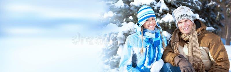 Zim bożych narodzeń para zdjęcia stock