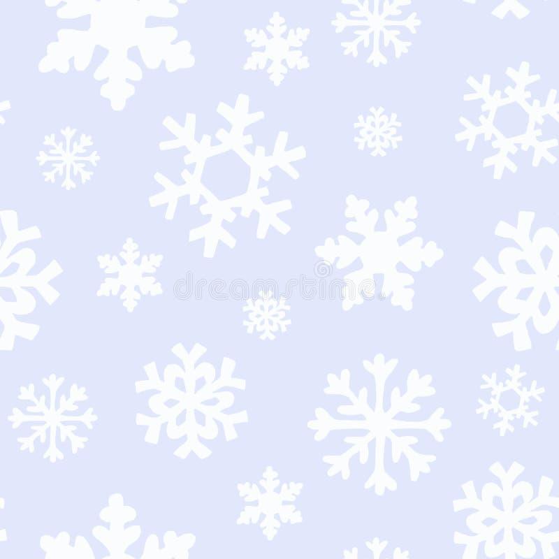 Zim bożych narodzeń wzór z bielem i srebro sylwetkami płatek śniegu, jagody, liście, gałąź, bałwan, drzewa royalty ilustracja