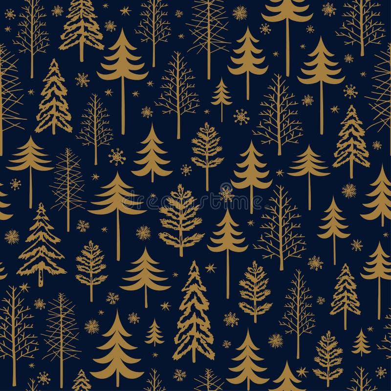 Zim bożych narodzeń złocisty bezszwowy wzór dla projekta pakuje papier, pocztówka, tkaniny ilustracja wektor