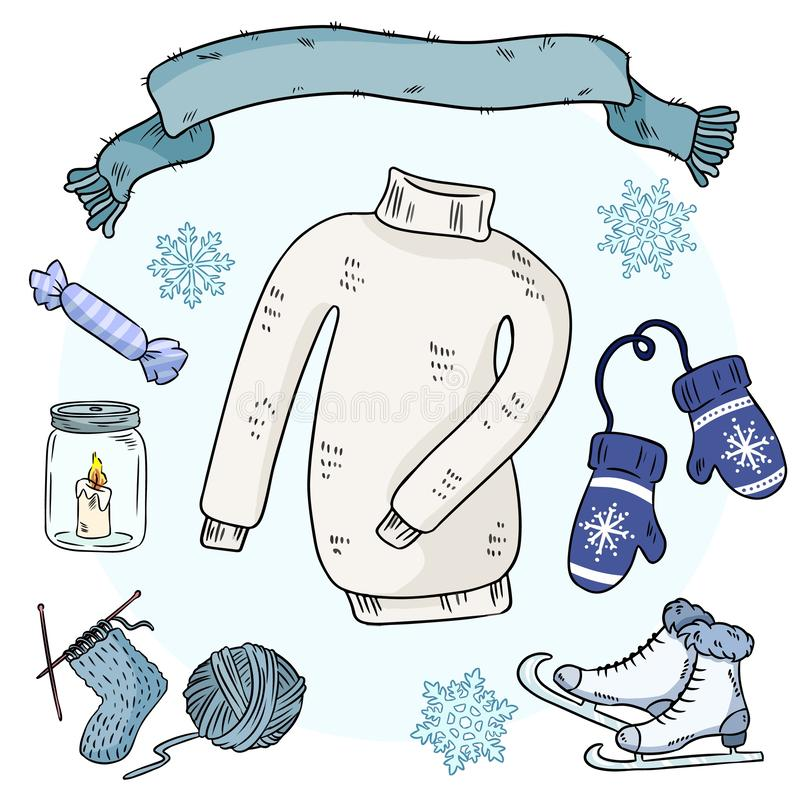 Zim doodles ustawiaj?cy r r Pulower, szalik, mittems, lodowe ?y?wy, dzianie, prz?dza ilustracji