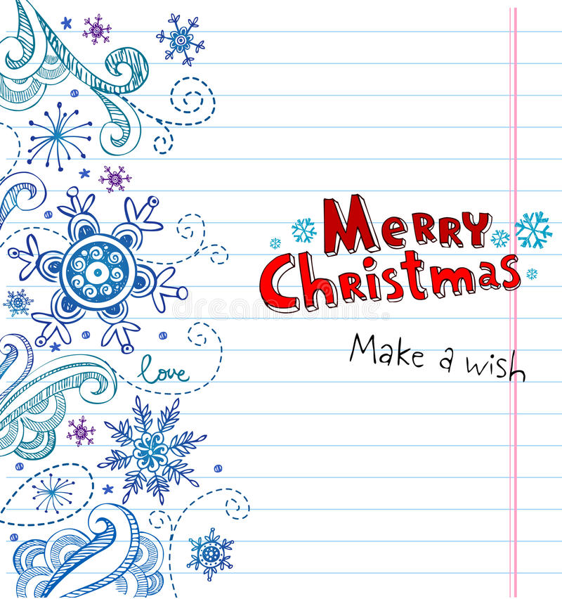 Zim Doodles z płatkami śniegu, kartka bożonarodzeniowa ilustracja wektor