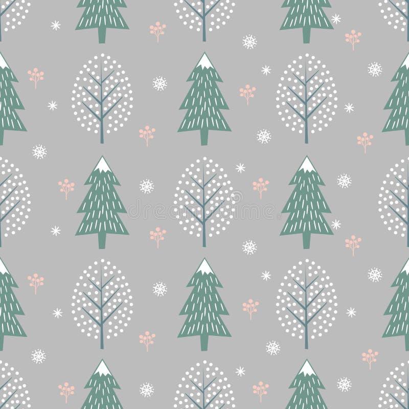 Zim drzew bezszwowy wzór na popielatym tle ilustracja wektor