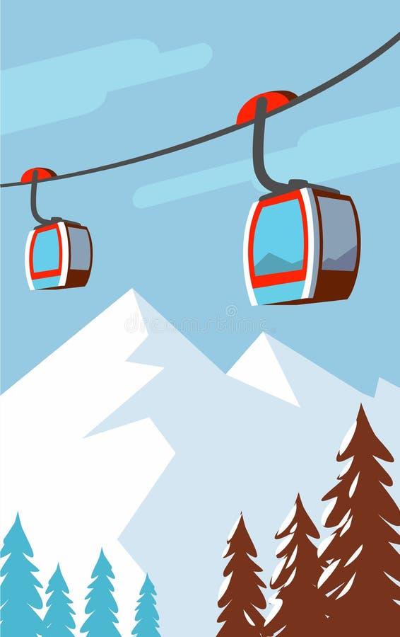 Zim góry, wagon kolei linowej, narciarski dźwignięcie ilustracji