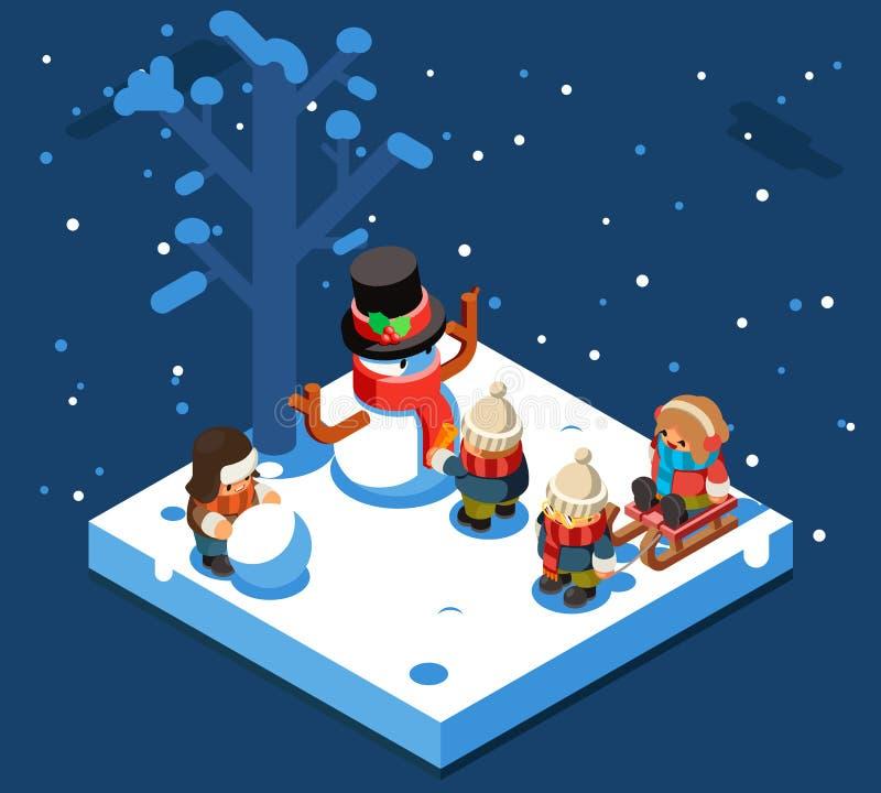 Zim gier isometric dzieciaki robi bałwanu snowball zimie bawić się sanie śnieżny tło płaski projekta wektor ilustracji