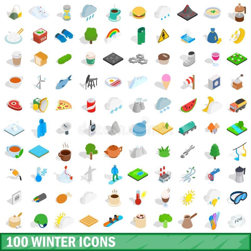 100 zim ikon ustawiających, isometric 3d styl ilustracja wektor