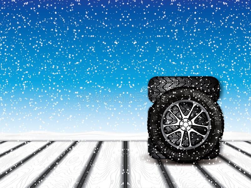 Zim koła ilustracja wektor