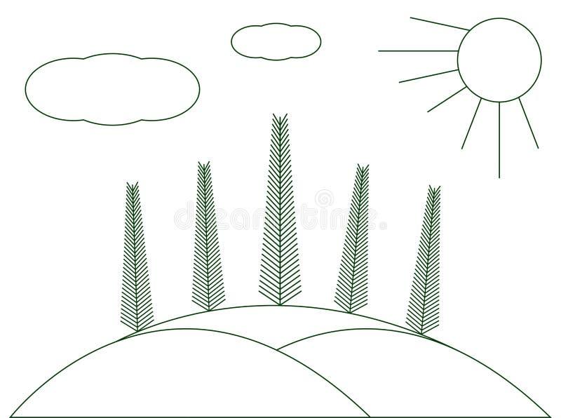 Zim krajobrazowe choinki na wzgórzach Graficzna ilustracja ilustracji