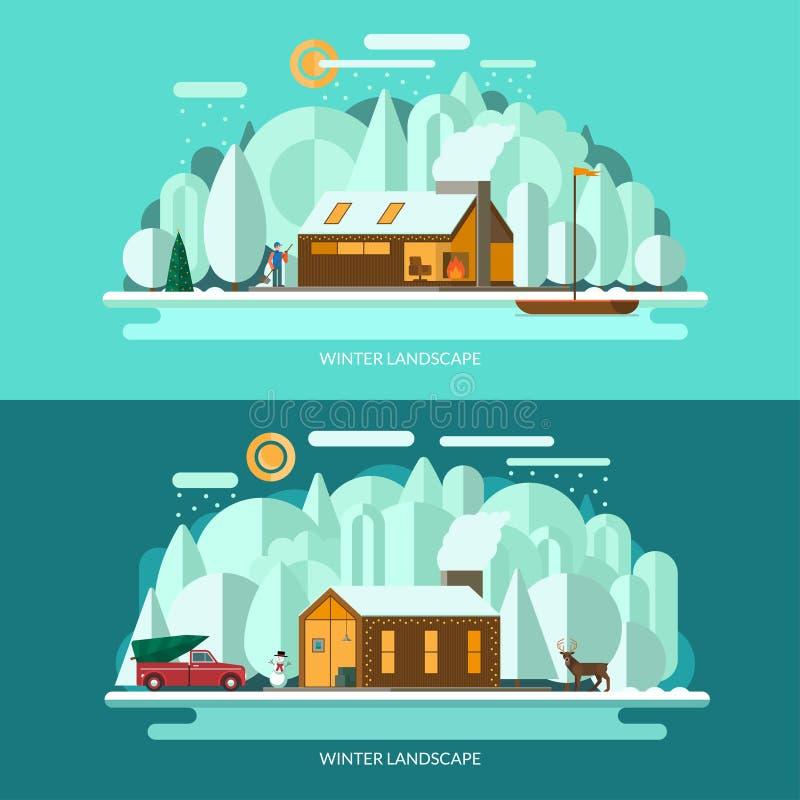 Zim krajobrazowe wektorowe ilustracje ustawiać Płaski projekt royalty ilustracja