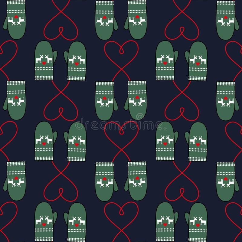 Zim mitynek bezszwowy wzór z sercami dla xmas wakacje ilustracji