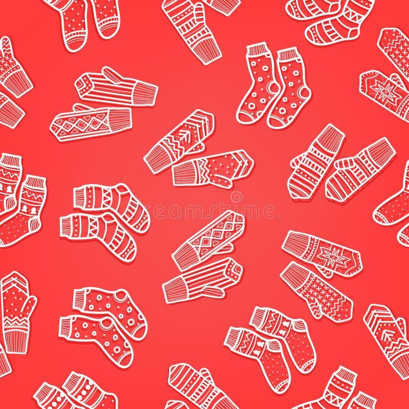 Zim mitynki i skarpeta bezszwowy wzór Ręka rysujący styl Bożenarodzeniowi dekoracyjni elementy Czerwoni kolory royalty ilustracja