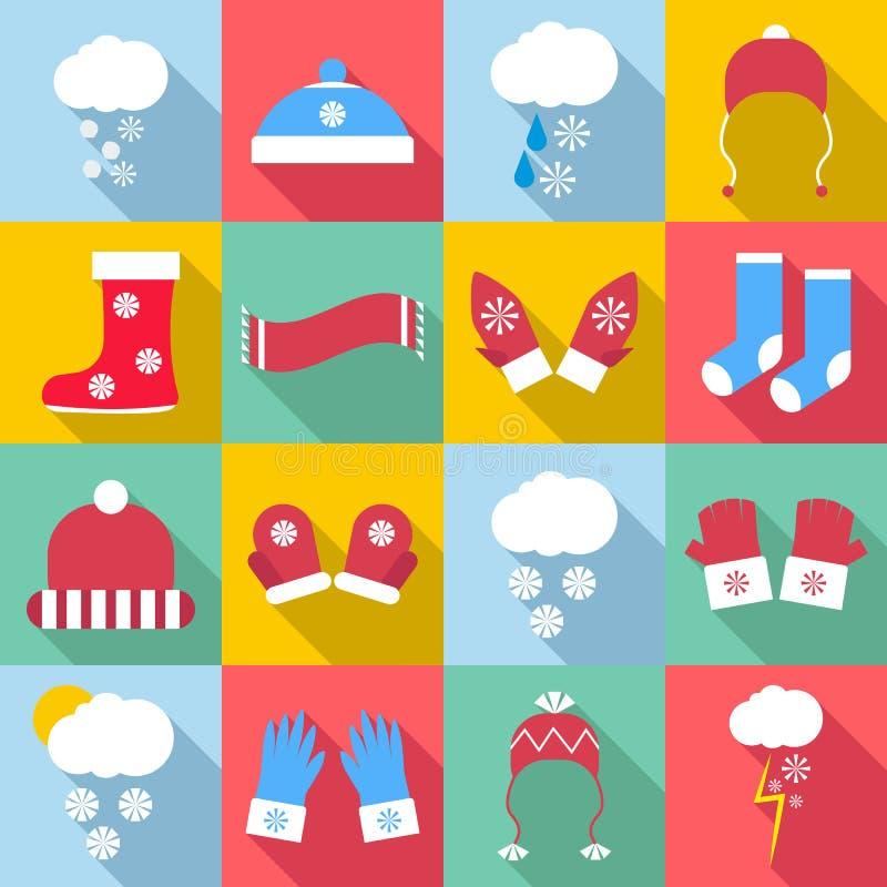 Zim odzieżowe ikony ustawiać, mieszkanie styl ilustracja wektor