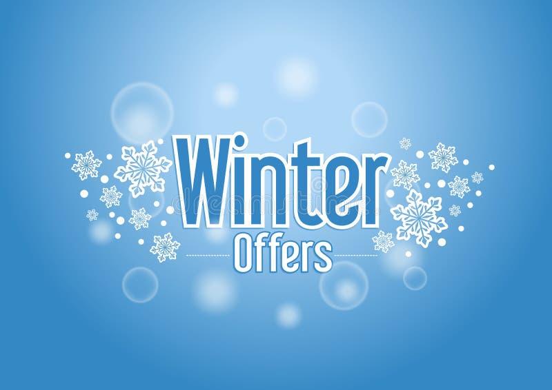Zim Specjalnych ofert słowo z śniegami w Błękitnym tle ilustracja wektor