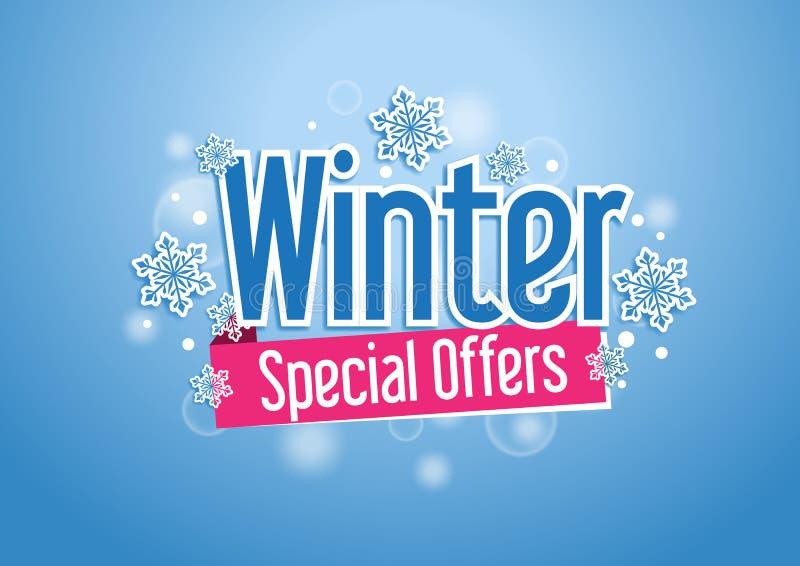 Zim Specjalnych ofert słowo z śniegami w Błękitnym tle ilustracji