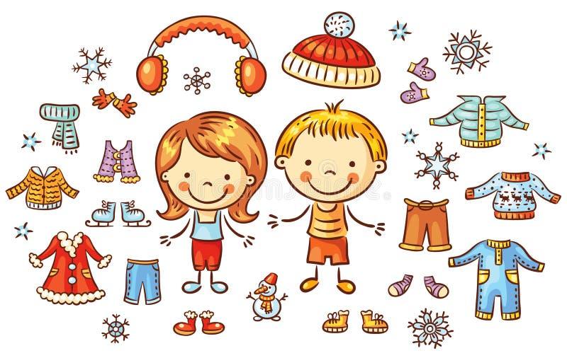 Zim ubrania ustawiający dla chłopiec i dziewczyny, rzeczy mogą stawiający dalej ilustracja wektor