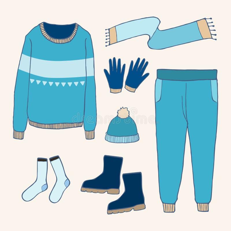 Zim ubrania ustawiający, kontur ręki rysunek doodles ilustracji