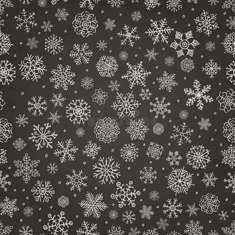 Zima Śnieżni płatki Doodle Bezszwowego tło royalty ilustracja