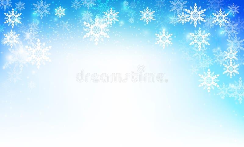 Zima śnieżny spadek z bokeh i oświetleniowym elementu abstrakta backgr ilustracji