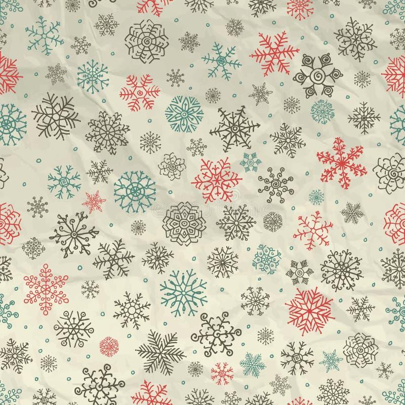 Zima Śnieżnych płatków Bezszwowy tło na Zmiętym ilustracji
