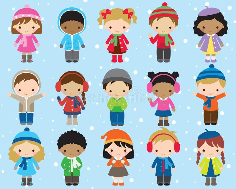 Zima Żartuje dzieci Wektorowych royalty ilustracja