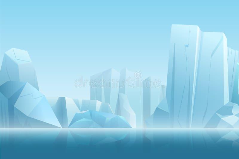 Zima arktyczny krajobraz z górą lodową w zmroku - błękitni czyści wodni i śnieżni gór wzgórza w miękkim białym mgła wektorze ilustracji