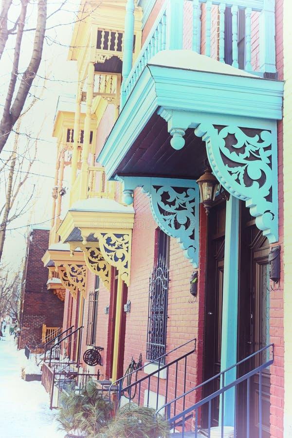 Zima balkony, Montreal, Instagram styl fotografia stock
