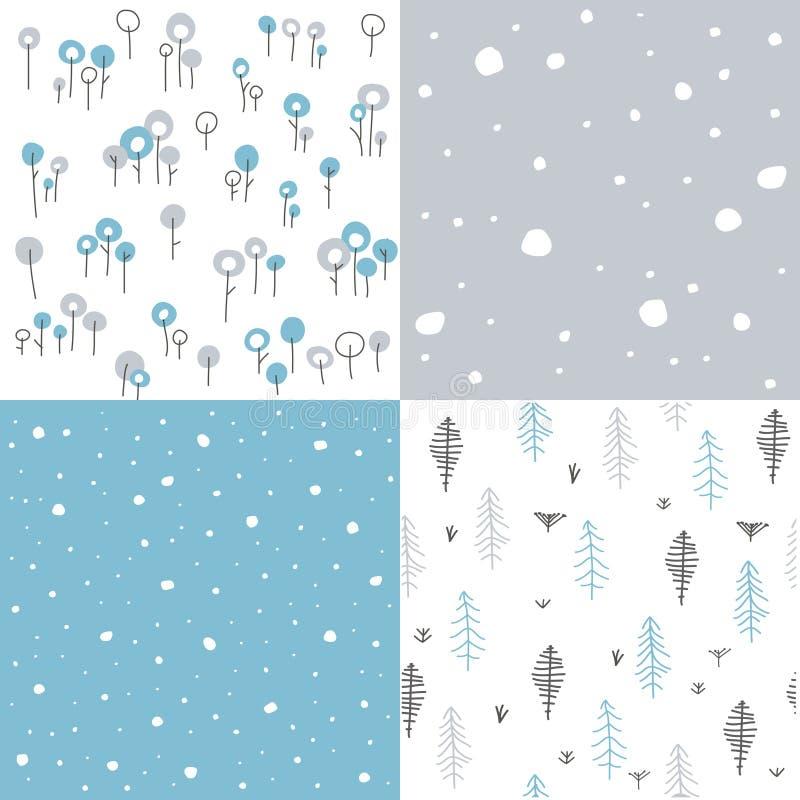 Zima bezszwowi kwieciści wzory ilustracji