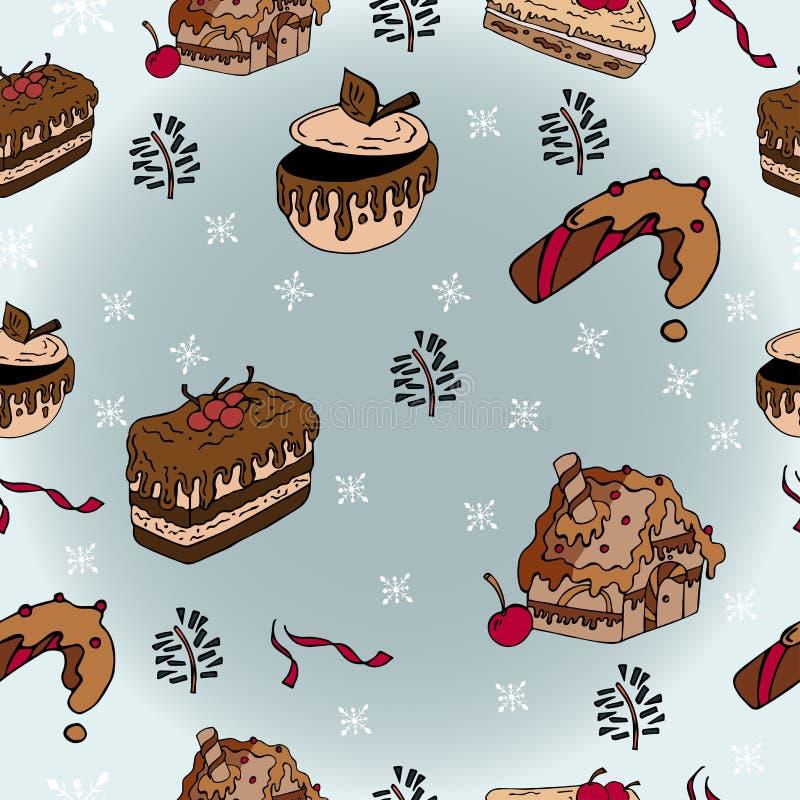 Zima bezszwowi wzory z piernikowymi ciastkami ilustracji