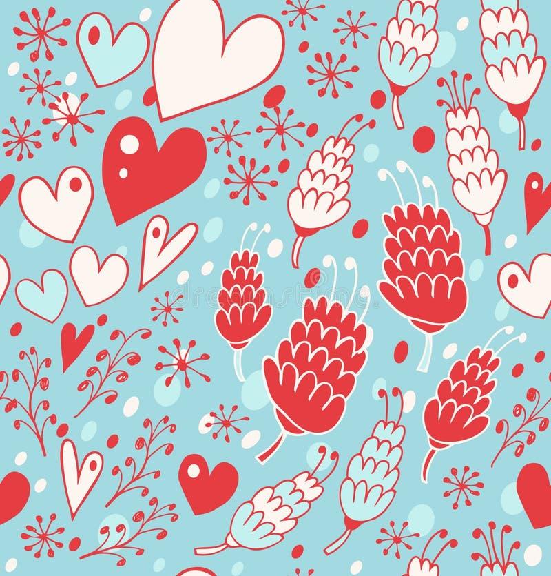 Zima bezszwowy wzór z kwiatami, sercami i płatkami śniegu, Niekończący się koronkowy tło dla druków, tkanina, scrapbooking, rzemi ilustracja wektor