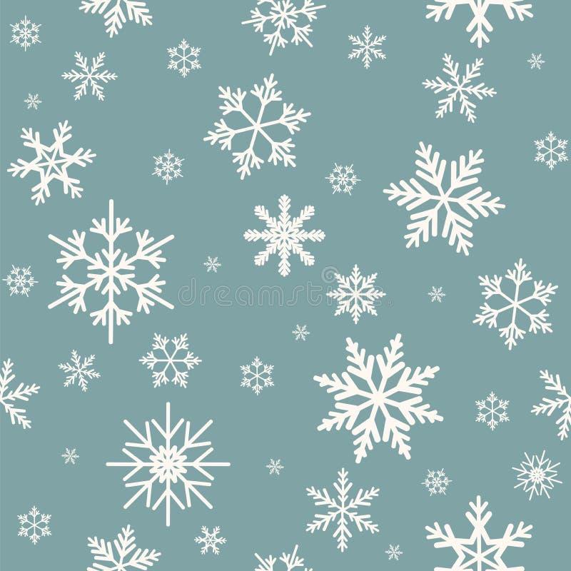 Zima bezszwowy wzór z płaskimi białymi płatkami śniegu na prochowego błękita tle ilustracja wektor