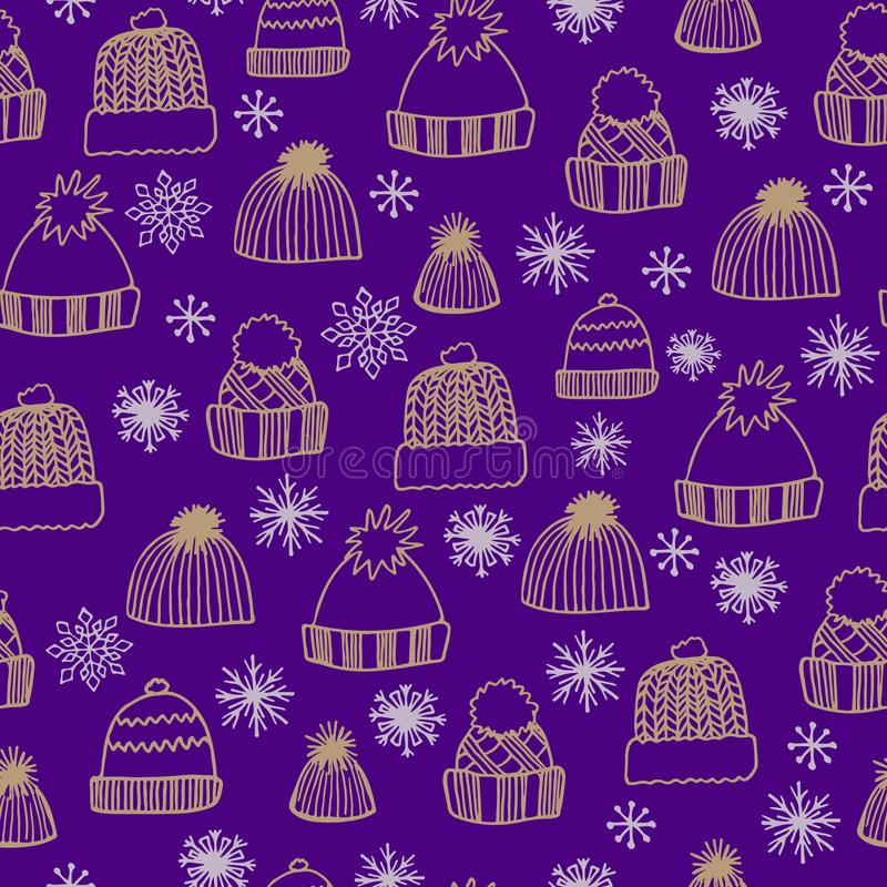 Zima bezszwowy wzór z ręką rysującą dział kapelusze i płatek śniegu na purpurowym tle royalty ilustracja