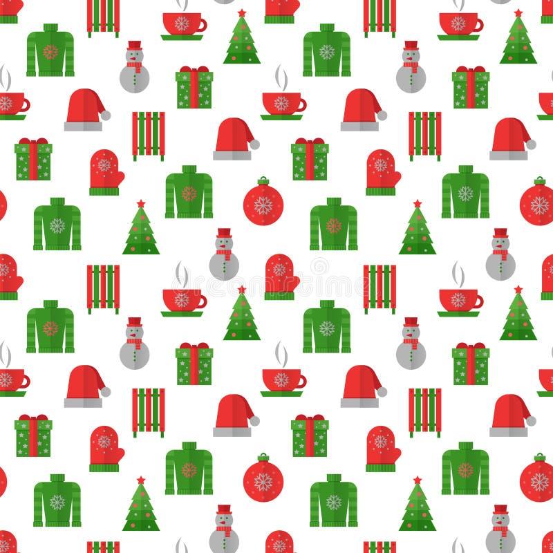 Zima bezszwowy wzór, zieleń i czerwoni kolory, Bożenarodzeniowi seamles ilustracja wektor