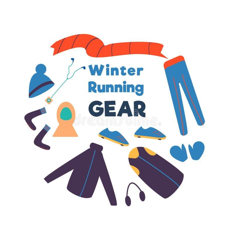 Zima bieg przekładnia Set odzieżowy zima i akcesoria dla biegać Wektorowa ręka rysująca ilustracja royalty ilustracja
