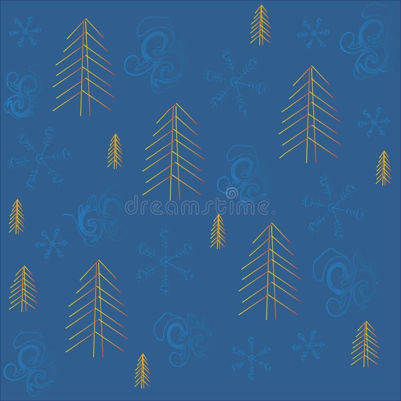 Zima, boże narodzenia, nowy rok, błękitny tło, błękitni płatki śniegu i zawijasy, pomarańcze, żółta choinka royalty ilustracja