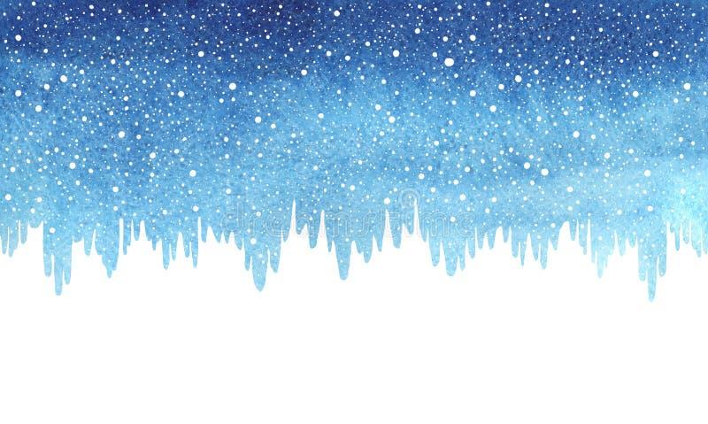 Zima, Bożenarodzeniowa błękitna akwareli granica, śnieg i sople, ilustracja wektor