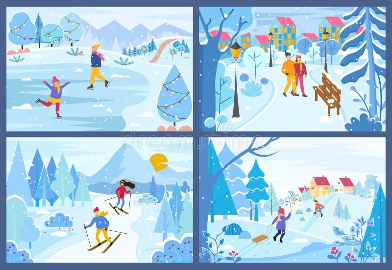 Zima Bożenarodzeniowi wakacje ludzie w parkach Ustawiających ilustracji