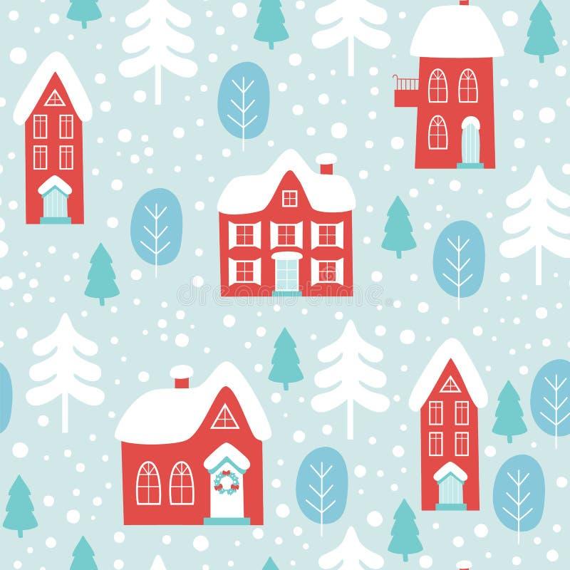 Zima Bożenarodzeniowy bezszwowy wzór z domami wektor ilustracja wektor