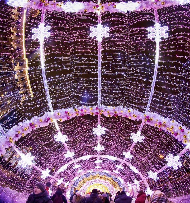 Zima Bożenarodzeniowy festiwal w Moskwa Rosja zdjęcie stock