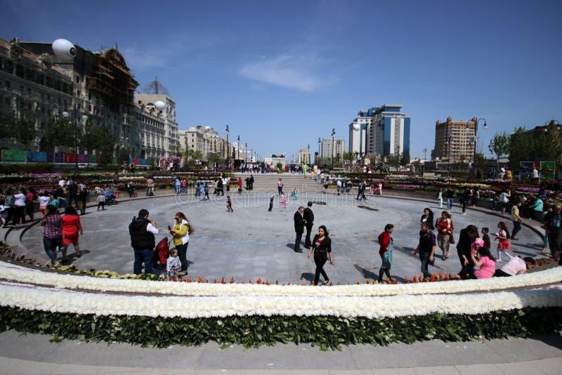 Zima bulwaru park w Baku mieście zdjęcia stock