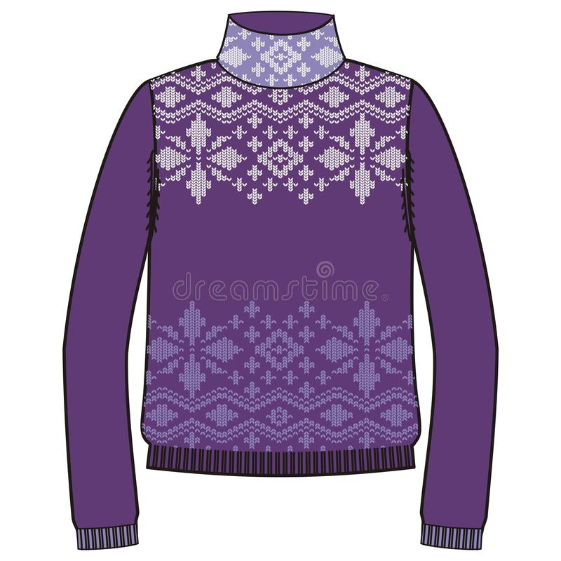 Zima ciepły pulower handmade, svitshot, bluza dla dzianiny, czarny kolor Projekt - płatki śniegu, reniferowy jacquard wzór ilustracja wektor