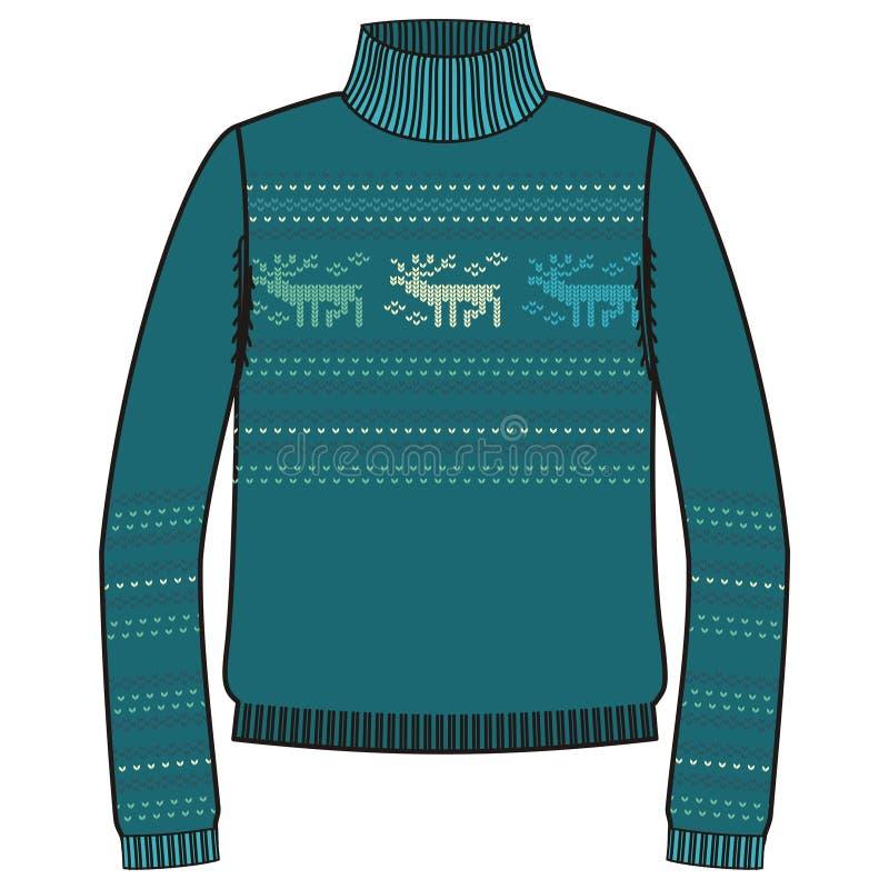 Zima ciepły pulower handmade, svitshot, bluza dla dzianiny, turkusowy kolor Projekt - płatki śniegu, reniferowy jacquard wzór ilustracja wektor