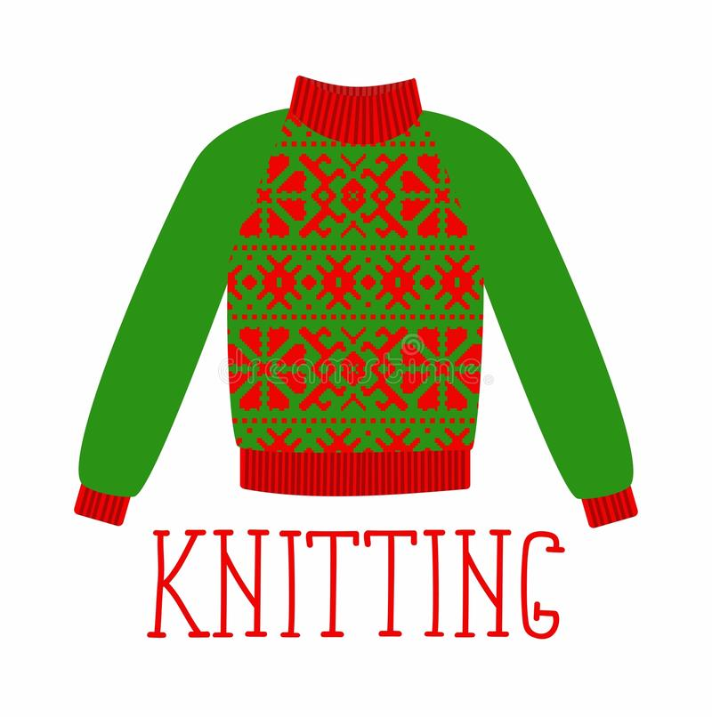 Zima ciepły pulower z ornamentem, cukierki strzał, bluza dla dzianiny, czerwonego i zielonego koloru, royalty ilustracja