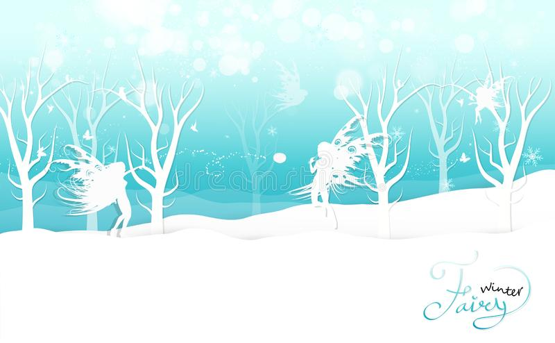 Zima, czarodziejska fantazja bawić się snowball w natury kaligrafii plakatowym zaproszeniu, płatek śniegu i gwiazdy, rozpraszamy  royalty ilustracja