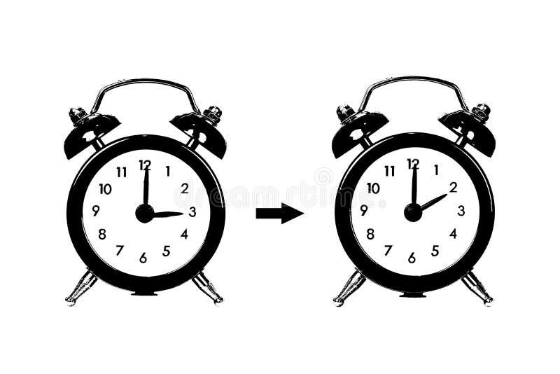 Zima czasu zmiana, światła dziennego oszczędzania czas ilustracji