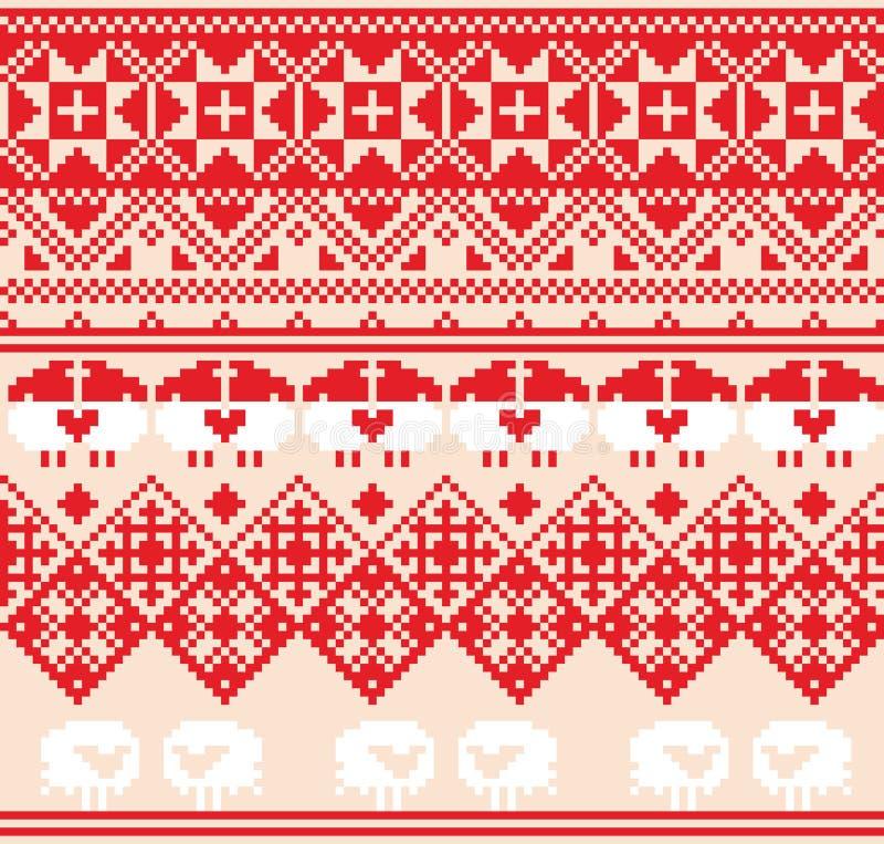 Zima czerwony bezszwowy wzór z caklami Piksla projekta tło ilustracja wektor
