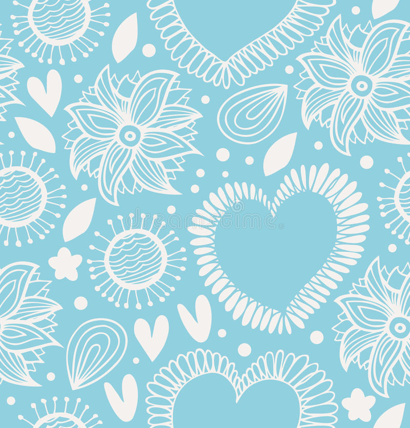 Zima dekoracyjny bezszwowy wzór Śliczny tło z sercami i kwiatami Tkaniny ozdobna tekstura dla tapet, druki, rzemiosła, ilustracji