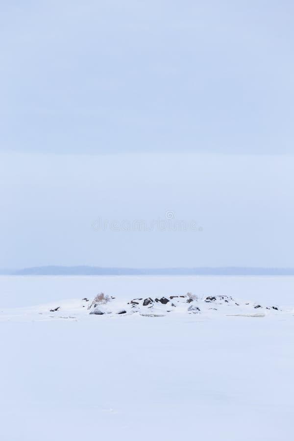 Zima dnia jeziora chmurny krajobraz obrazy stock