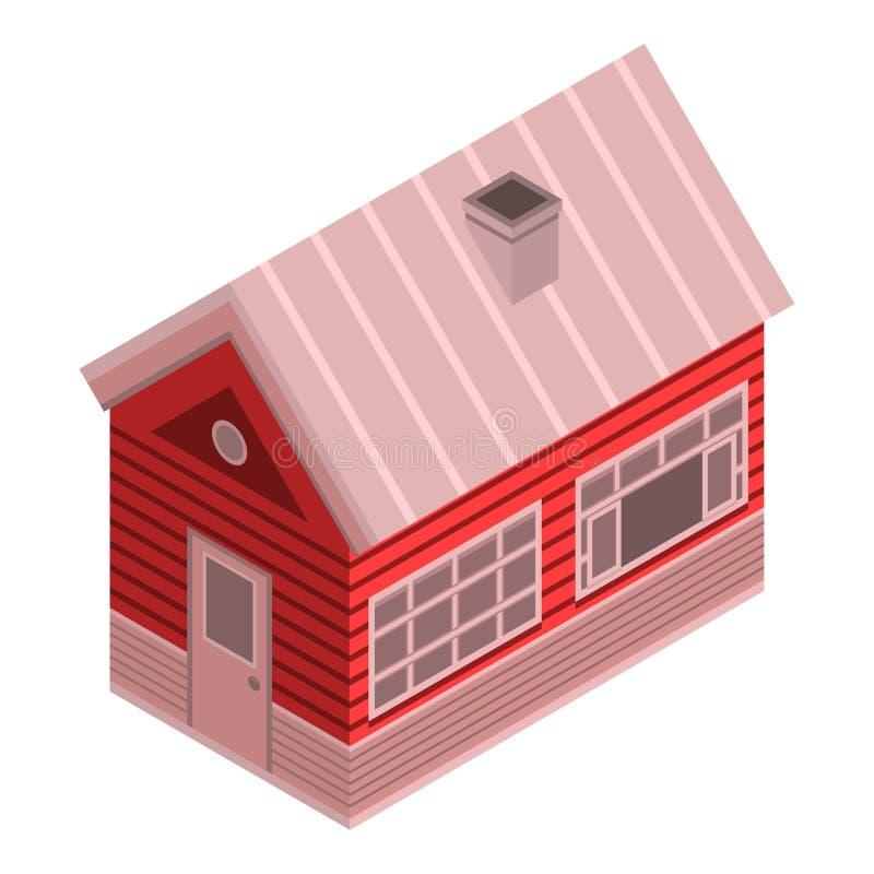 Zima drewnianego domu ikona, isometric styl ilustracji