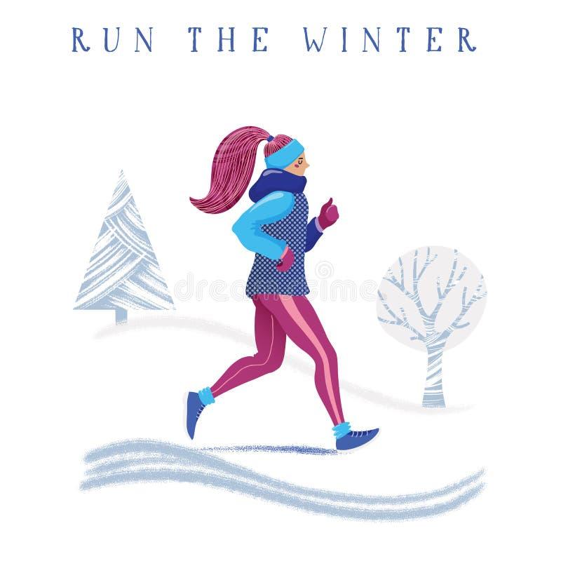 Zima działający sztandar, młoda kobieta jogging w parku royalty ilustracja