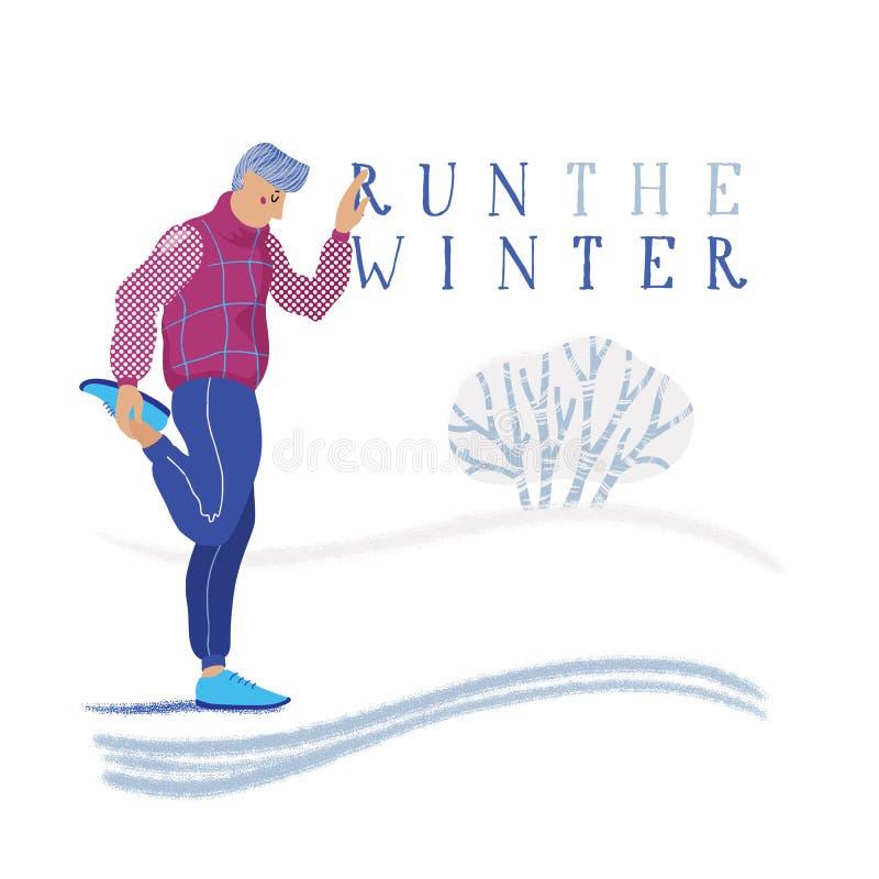 Zima działający sztandar - obsługuje rozgrzewkowego w górę trenować dla royalty ilustracja